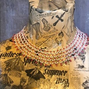 Vintage beaded collar necklace handmade